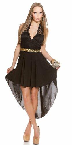 Dámske mini šaty s čipkovanou vrchnou časťou | Čierna