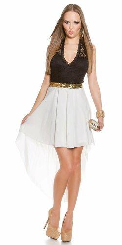 Dámske mini šaty s čipkovanou vrchnou časťou | Biela