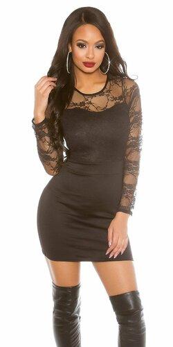 Dámske šaty s dlhými čipkovanými rukávmi