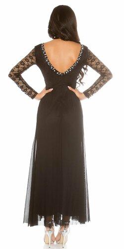 Dámske večerné šaty čipkované Čierna