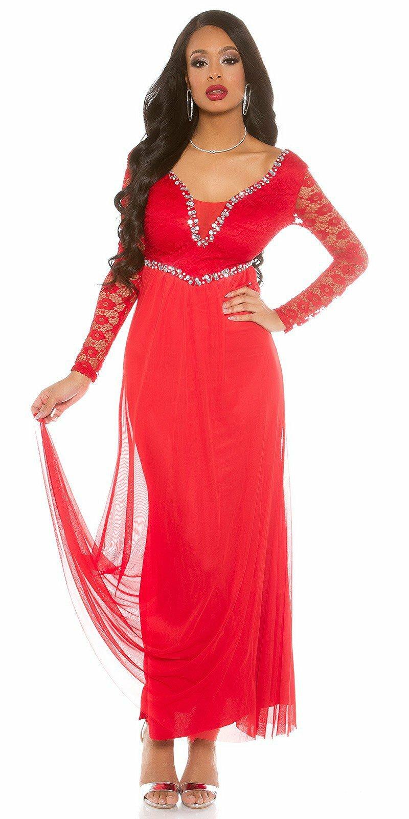 Dámske večerné šaty čipkované #Veľkosť XL Farba Červená