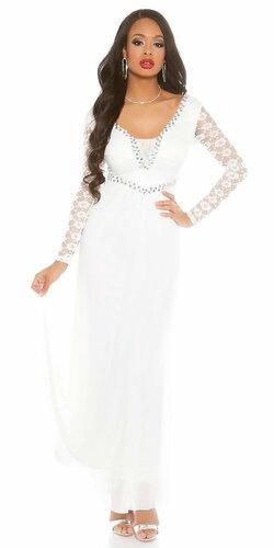 Dámske večerné šaty čipkované Biela