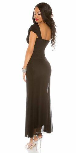 Dámske večerné šaty ,,carpet look,, Čierna