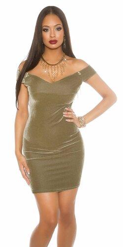 Dámske mini šaty ,,velvet look,, | Khaki