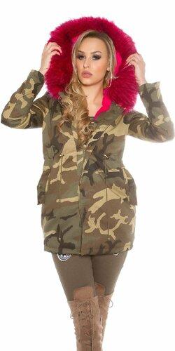Dámska maskáčová cargo bunda s umelou kožušinou | Ružová