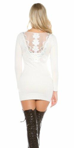 Dámske pletené mini šaty | Biela