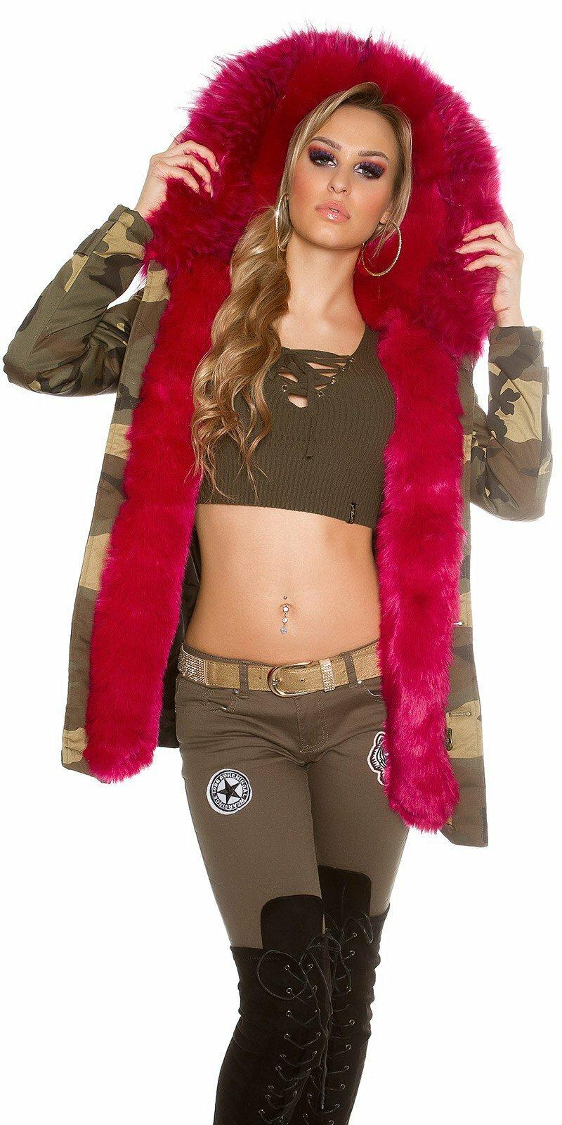 8bb165f93198 Dámska maskáčová bunda  Veľkosť 36 (S) Farba Ružová