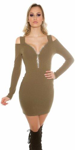 Dámske mini šaty s odhalenými ramenami Khaky