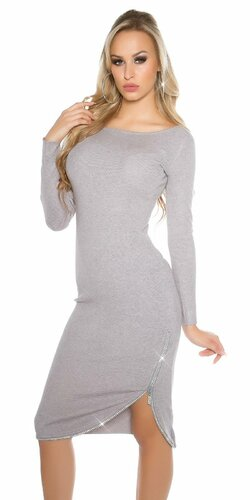 Dámske dlhé pletené šaty KouCla | Šedá