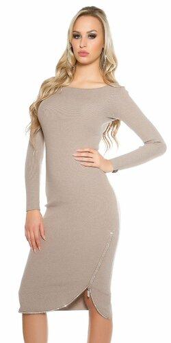 Dámske dlhé pletené šaty KouCla | Béžová