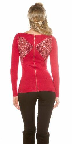 Dámsky sveter s anjelskými krídlami Červená