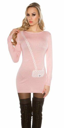 Dámsky dlhý sveter s obrázkom kabelky Bledá ružová
