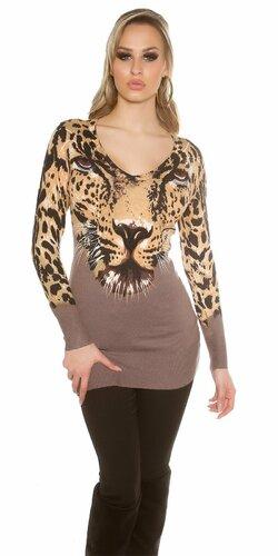 Leopardí dámsky sveter Cappuccino