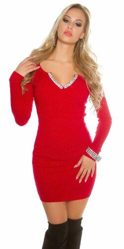 Dámske pletené mini šaty s V výstrihom (Červená)