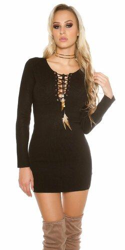 Dámske úpletové mini šaty KouCla | Čierna