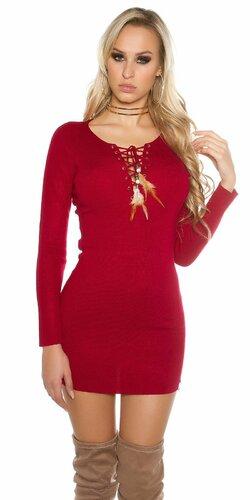 Dámske úpletové mini šaty KouCla (Bordová)