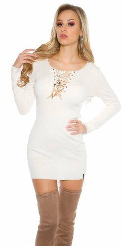 Dámske úpletové mini šaty KouCla | Biela