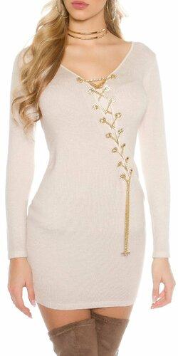 Dámske pletené šaty s dekoratívnou retiazkou