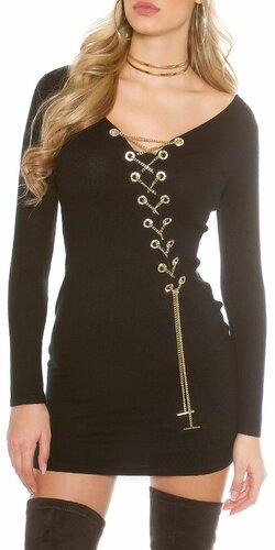 Dámske pletené šaty s dekoratívnou retiazkou | Čierna