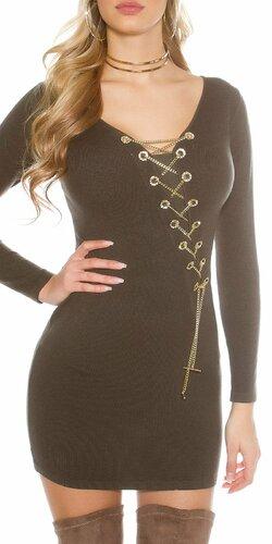 Dámske pletené šaty s dekoratívnou retiazkou | Khaky