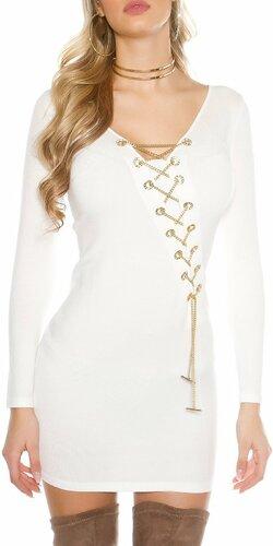 Dámske pletené šaty s dekoratívnou retiazkou Biela