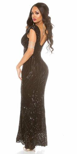 Lesklé večerné šaty KouCla Čierna