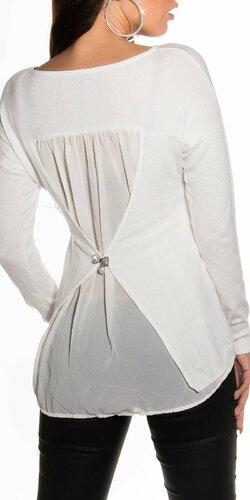 Sexy dámsky blúzkový sveter s mašličkou vzadu