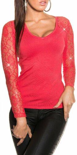 Dámsky sveter s čipkovanými rukávmi s kamienkami