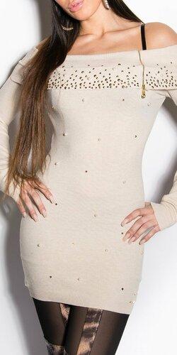 Dlhý dámsky sveter s perličkami Béžová