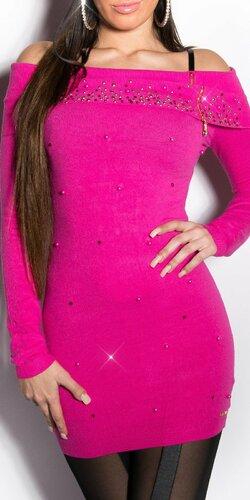 Dlhý dámsky sveter s perličkami | Ružová