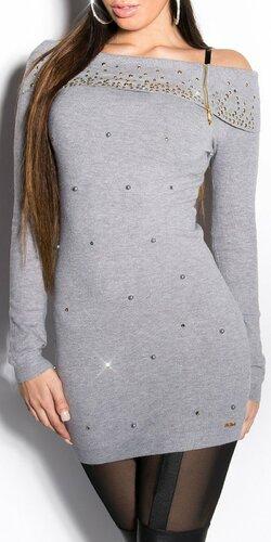 Dlhý dámsky sveter s perličkami | Šedá