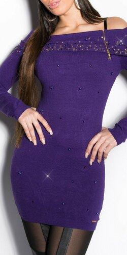 Dlhý dámsky sveter s perličkami | Fialová
