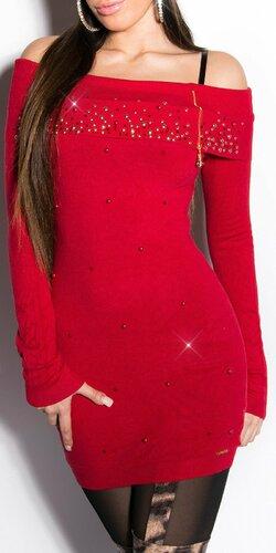 Dlhý dámsky sveter s perličkami