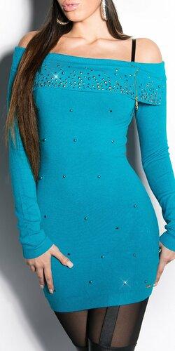 Dlhý dámsky sveter s perličkami | Zafírová
