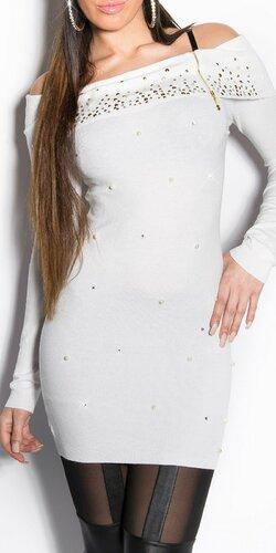 Dlhý dámsky sveter s perličkami Biela