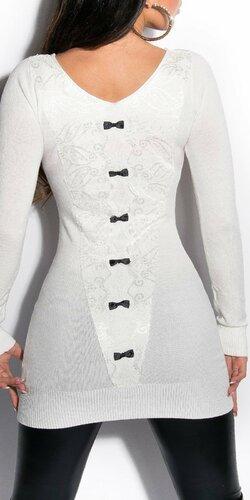 Dámsky sveter s čiernymi mašličkami | Krémová