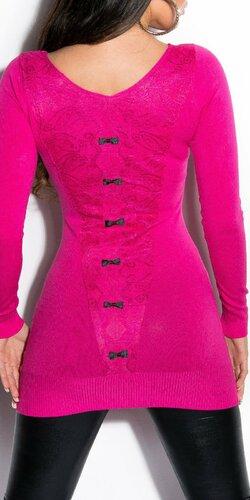 Dámsky sveter s čiernymi mašličkami | Ružová