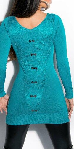 Dámsky sveter s čiernymi mašličkami | Zafírová