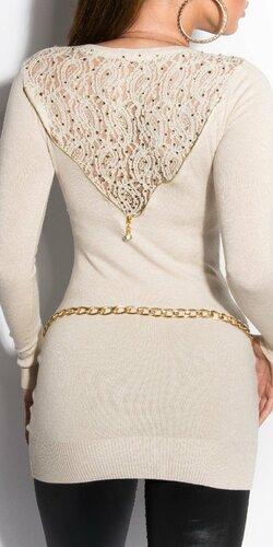 Dámsky sveter s čipkovaným chrbtom Béžová