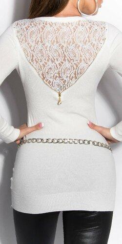 Dámsky sveter s čipkovaným chrbtom Krémová