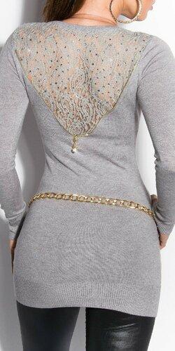 Dámsky sveter s čipkovaným chrbtom Šedá