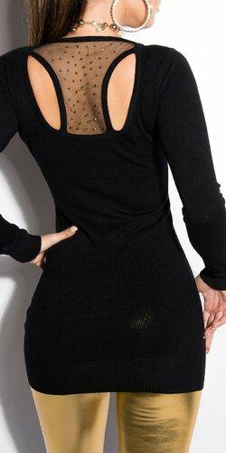 Dámsky sveter dlhý KouCla Čierna