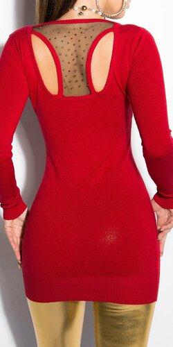 Dámsky sveter dlhý KouCla Červená