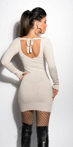 Pletené mini šaty s mašľou Béžová