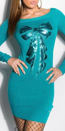 Pletené mini šaty s mašľou | Zafírová