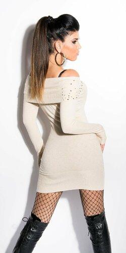 Dámske mini úpletové šaty s kamienkami Béžová