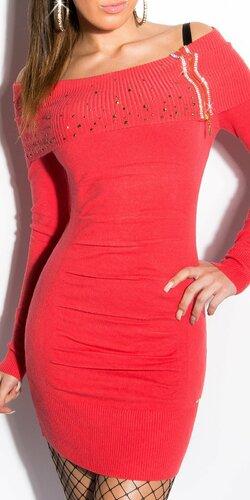 Dámske mini úpletové šaty s kamienkami | Koralová
