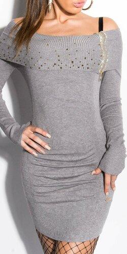 Dámske mini úpletové šaty s kamienkami | Šedá