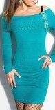 Dámske mini úpletové šaty s kamienkami Zafírová
