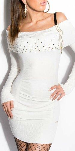 Dámske mini úpletové šaty s kamienkami | Biela